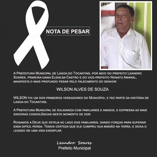 Lagoa do TO perde um ilustre morador: ex-vereador Wilson Alves faleceu nesta terça, 20