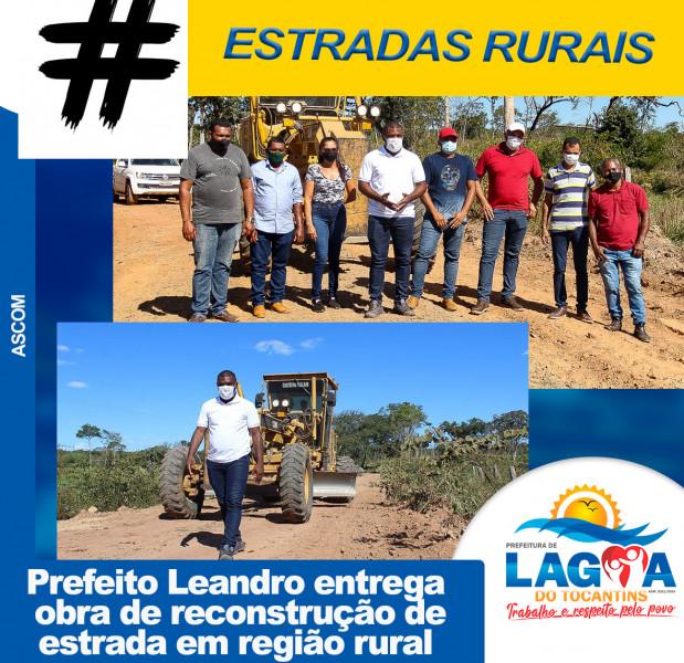 Prefeito Leandro entrega obra de reconstrução de estrada em região rural