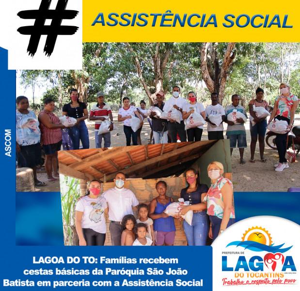 Famílias recebem cestas básicas da Paróquia São João Batista em parceria com a Assistência Social